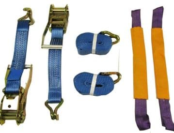 2 x 50mm x  6M RATCHET TIE DOWN RECOVERY WHEEL STRAPS ROUND with SLINGS trailer